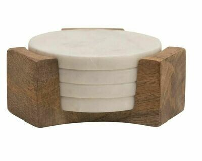 """5"""" Round Marble Coasters in Fruitwood Holder"""
