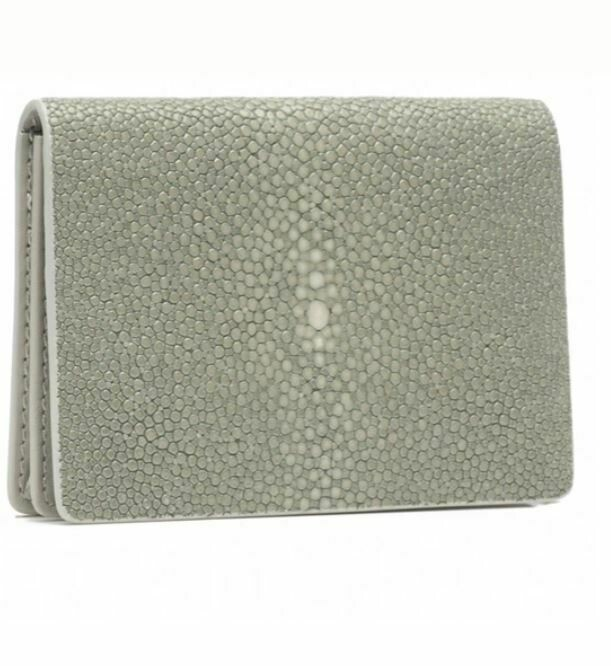 Grey Shagreen Card Case
