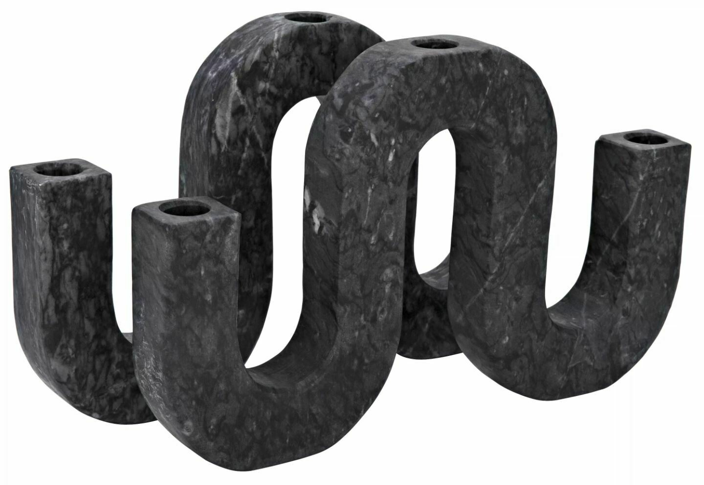 NR002 Mulholland Candle Holder - Black Marble