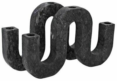 Mulholland Candle Holder - Black Marble