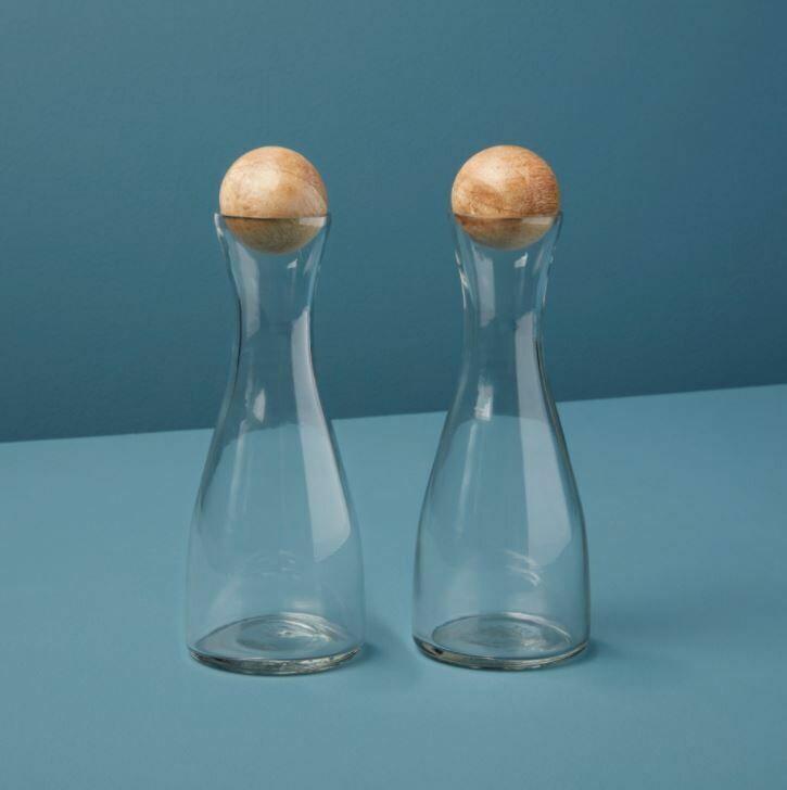 BH011 Glass & Mango Cruets Set of 2