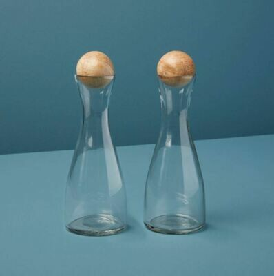 Glass & Mango Cruets Set of 2