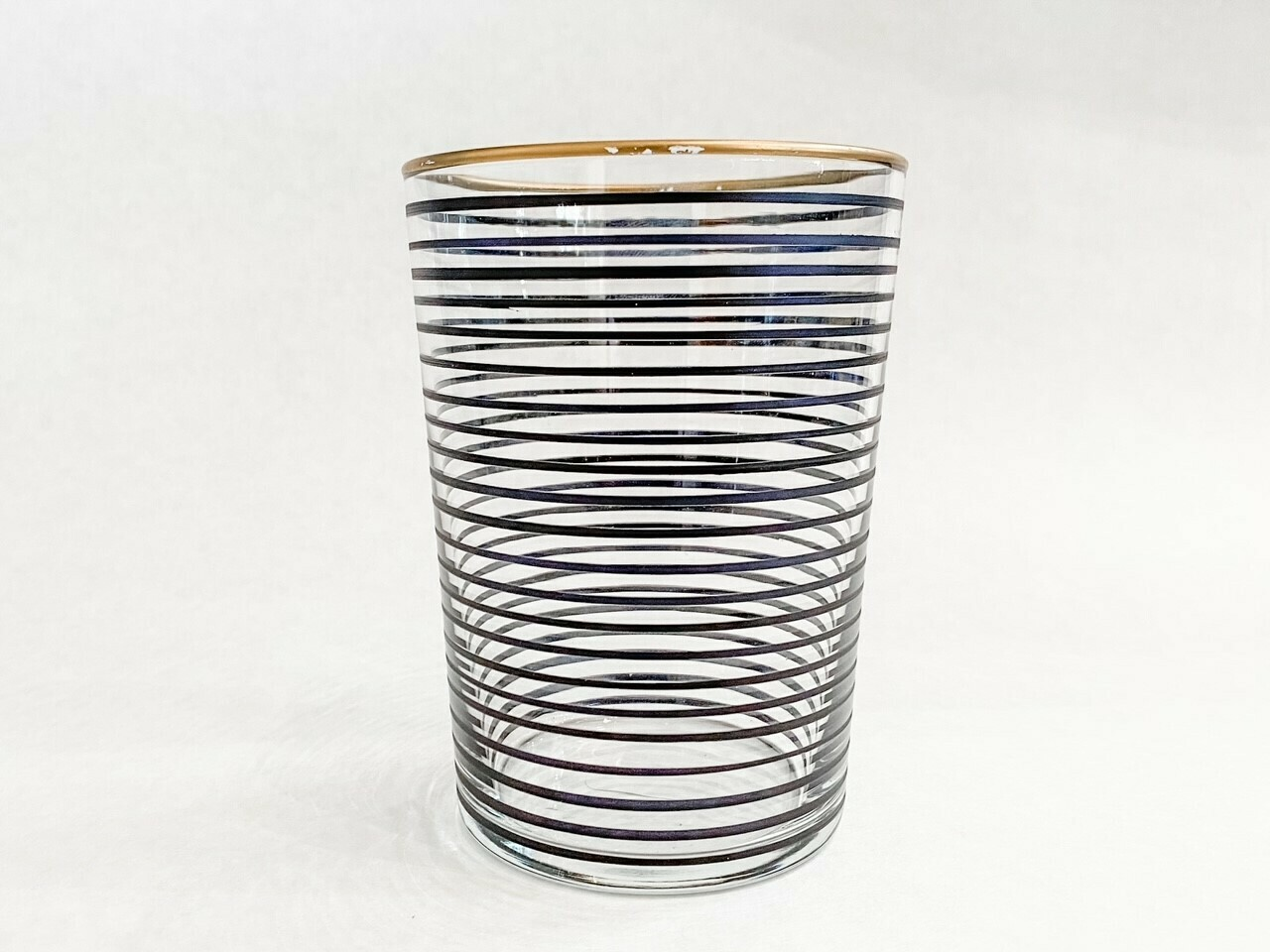 Drinking Glass - Striped - Black