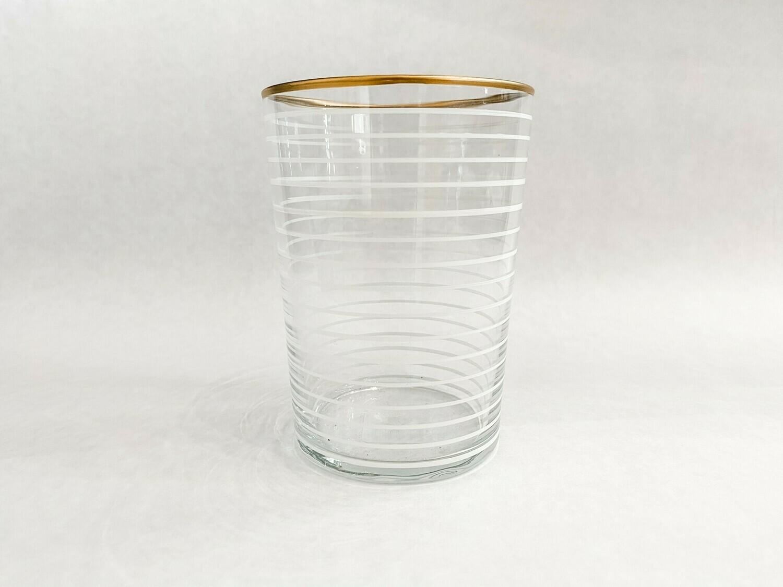 SL051 Drinking Glass - Striped - White
