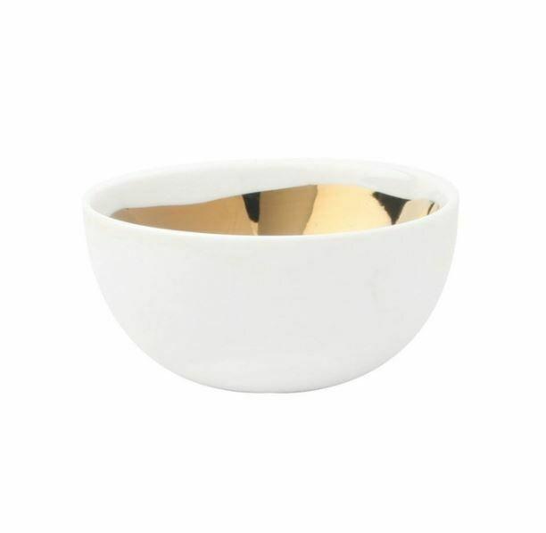 Gold + White Porcelain Medium Bowl