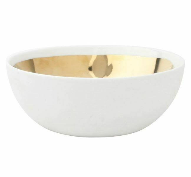 Gold + White Porcelain Large Bowl