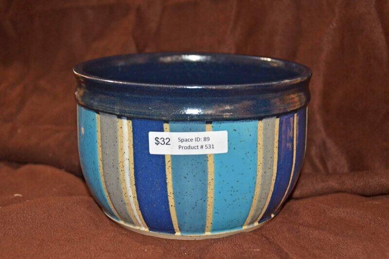 (SOLD) Midnight Blue Striped Bowl