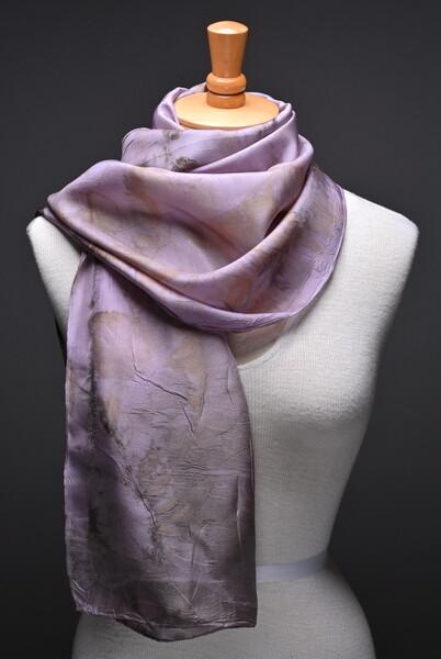 (SOLD)Naturally printed Habotai scarf