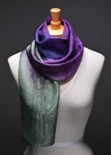 Hand dyed silk habotai scarf