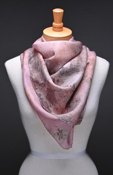 Habotai scarf natural print and natural dye