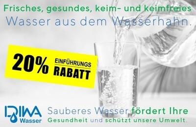 DIWA© Wasserfilter für gesundes, bakterien- & keimfreies Trinkwasser. Die Lösung für Ihre Gesundheit und Umwelt. 20%  EINFÜHRUNGSRABATT!
