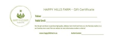 Happy Hills Farm GIFT CERTIFICATE