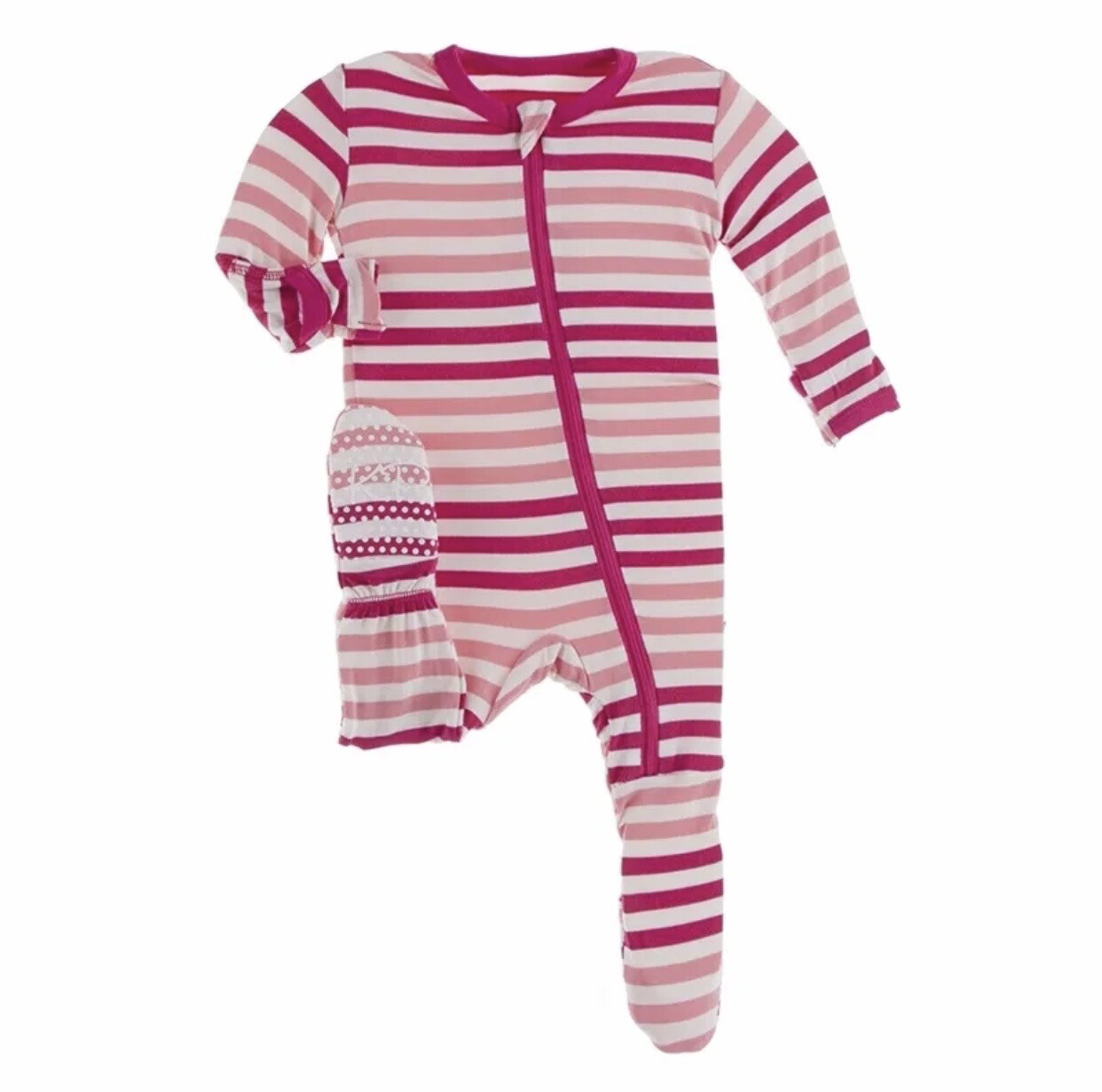 KicKee Pants Ruffled Pink Stripe Footie NB