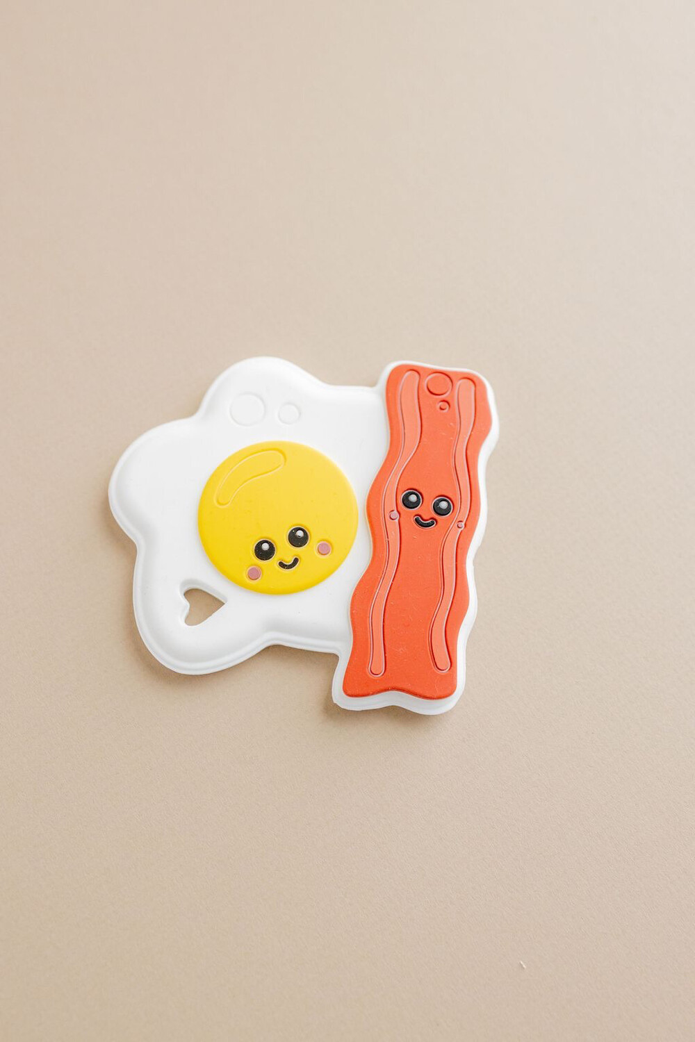 Three Hearts Egg And Bacon Modern Teething Toy