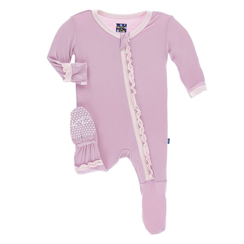 """KicKee Pants """"Solid Muffin"""" Ruffled Footie 6-9M"""