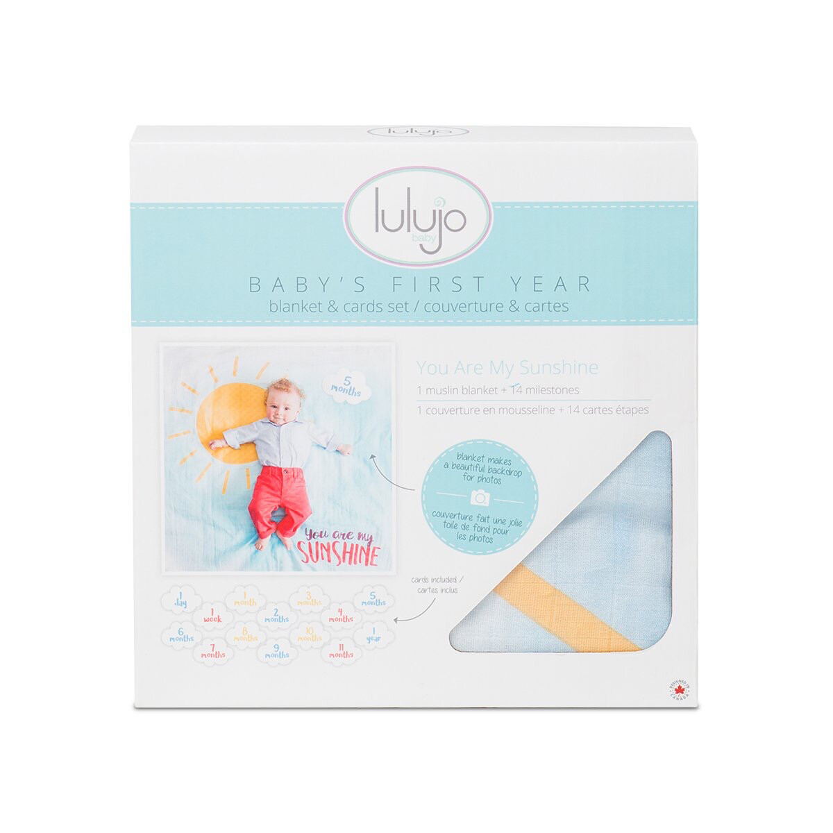 """Lulujo """"You Are My Sunshine"""" Baby's First Year Blanket/Cards Set"""
