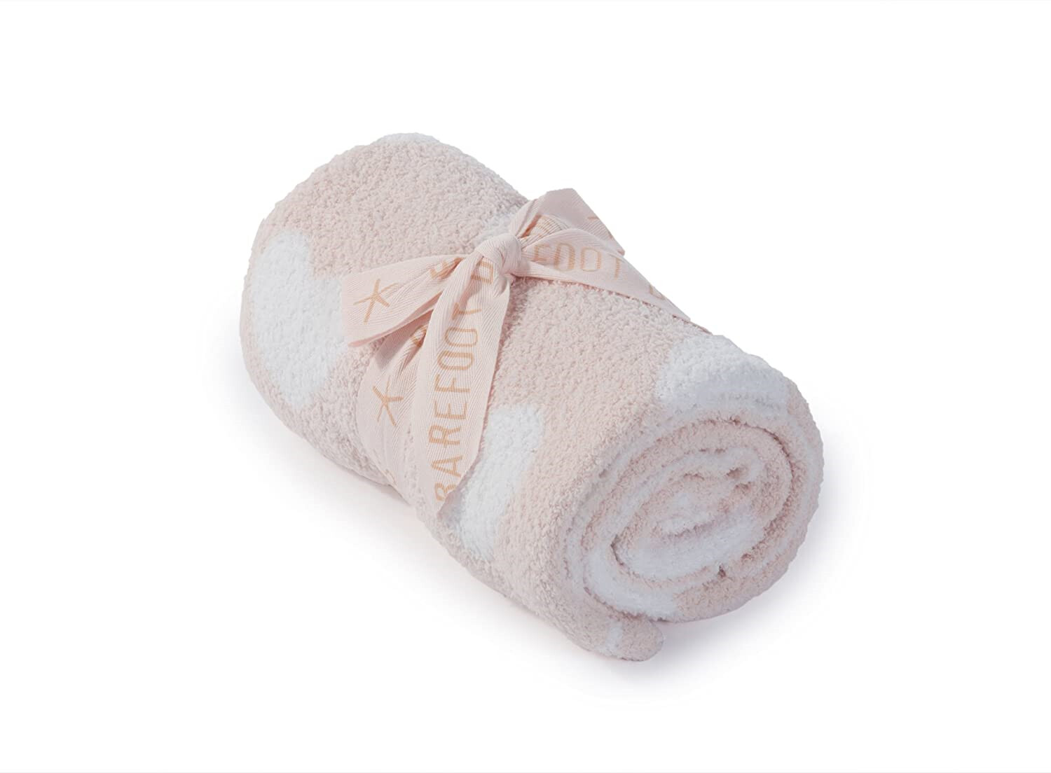 Barefoot Dreams Receiving Blanket Pink & White Hearts