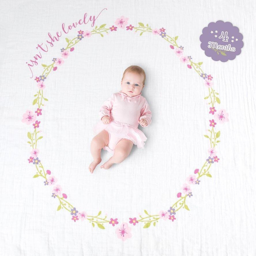 """Lulujo Baby """"Isn't She Lovely"""" Baby's First Year Blanket & Cards Set"""