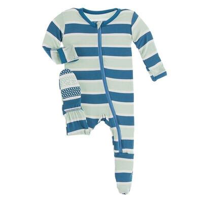 """KicKee Pants """"Seaside Cafe Stripe Footie NB"""