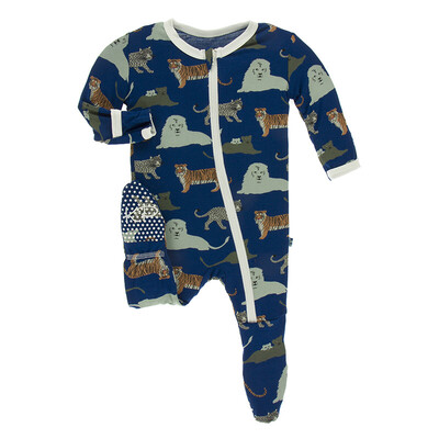 "KicKee Pants ""Flag Blue Big Cats"" Footie NB"
