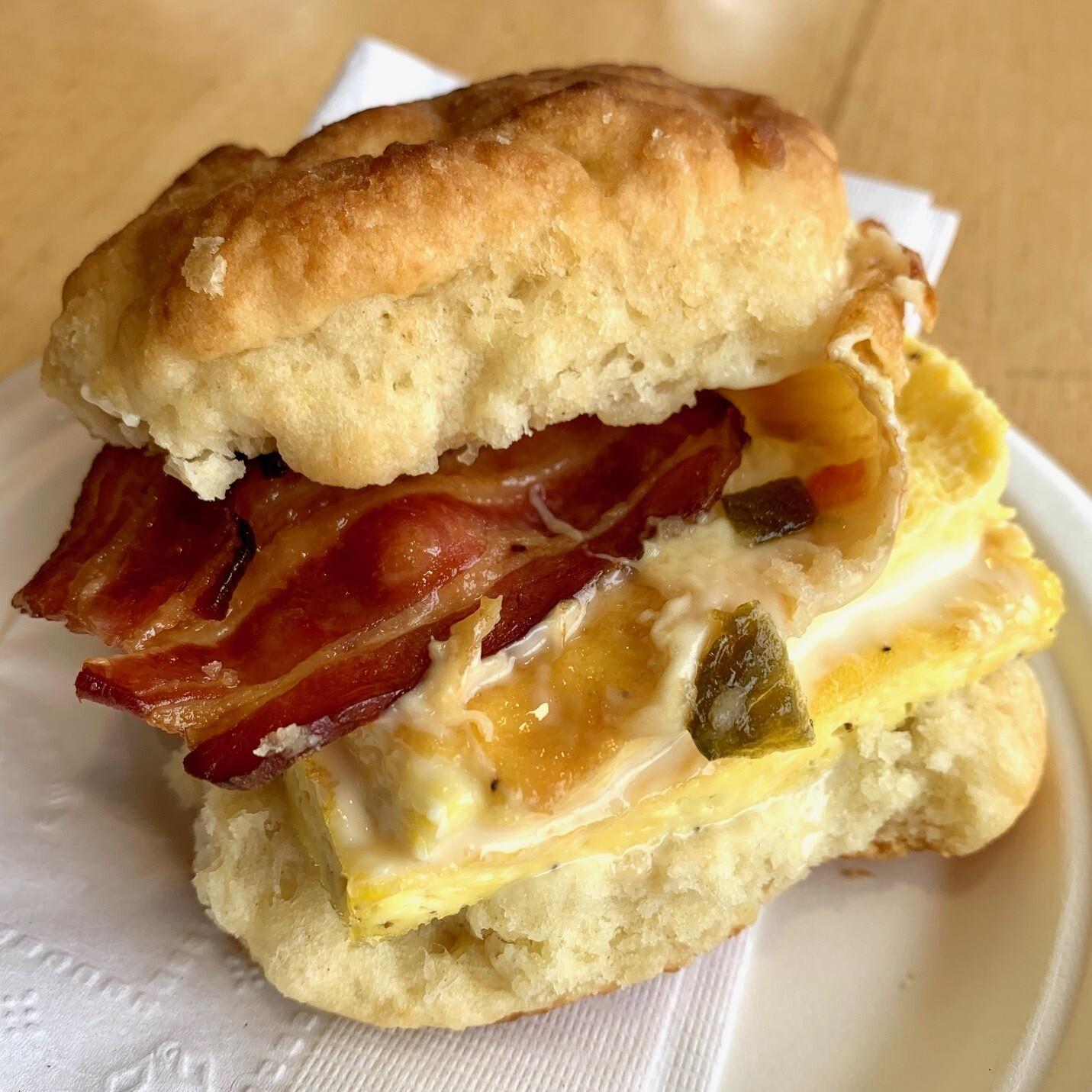 Breakfast sandwich / bacon and egg