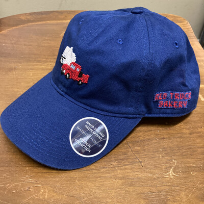 Blue hat with embroidered red truck