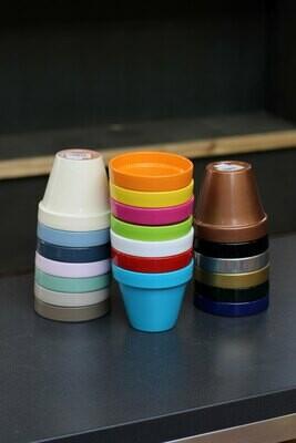 4.5in Colored Ceramic Flower Pots (ea)