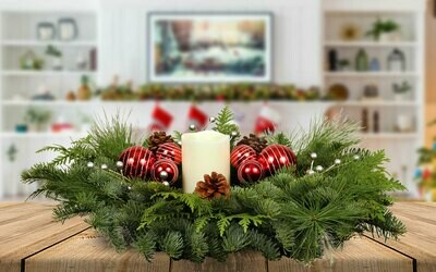 Centerpiece - Live Mixed Evergreen with LED Candle