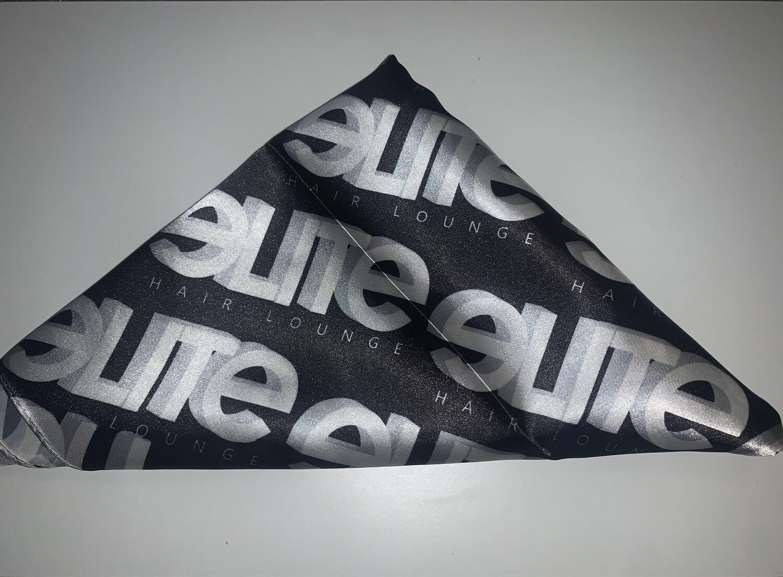 White Logo Satin Silk Headscarf