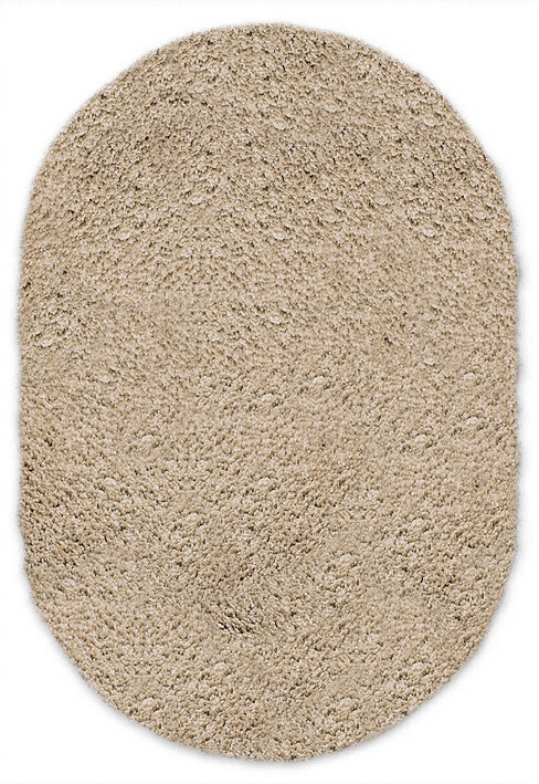Shaggy beige oval