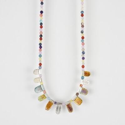 Necklace Multicolour Bead Orange