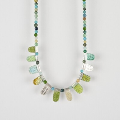 Necklace Multicolour Bead Green