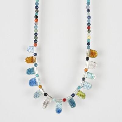 Necklace Multicolour Bead Blue
