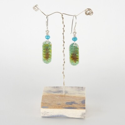 Earrings Drop Mottled Green