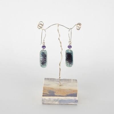 Earrings Drop Purple & Blue