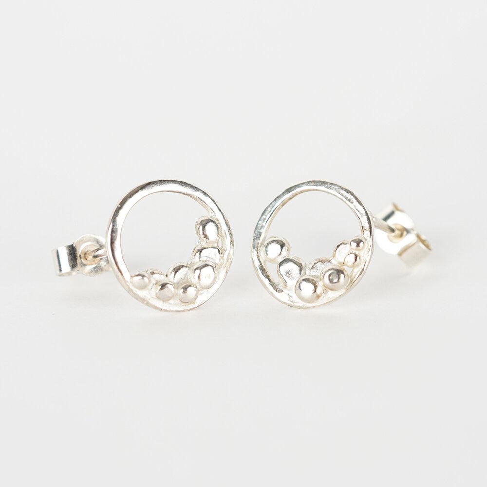 Earrings Stud Small Pebble Moon