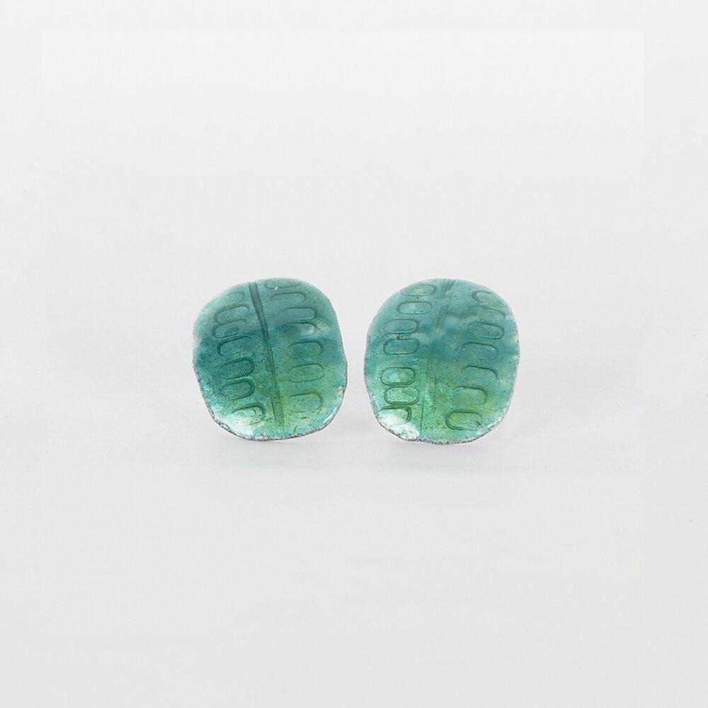 Earrings Stud Large Green