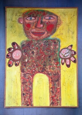 'Untitled' Man on yellow background 114x84cm