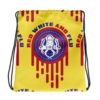 Red, White, and Flu Drawstring bag