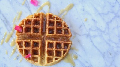 Bacon in the Batter Waffle with Santa Rosa Wild Flower Honey