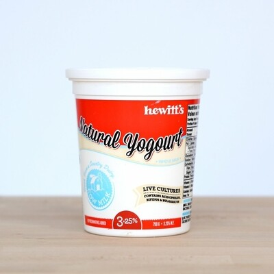 All Natural 3.25% Yogurt Plain - Hewitt's LOCAL 750g