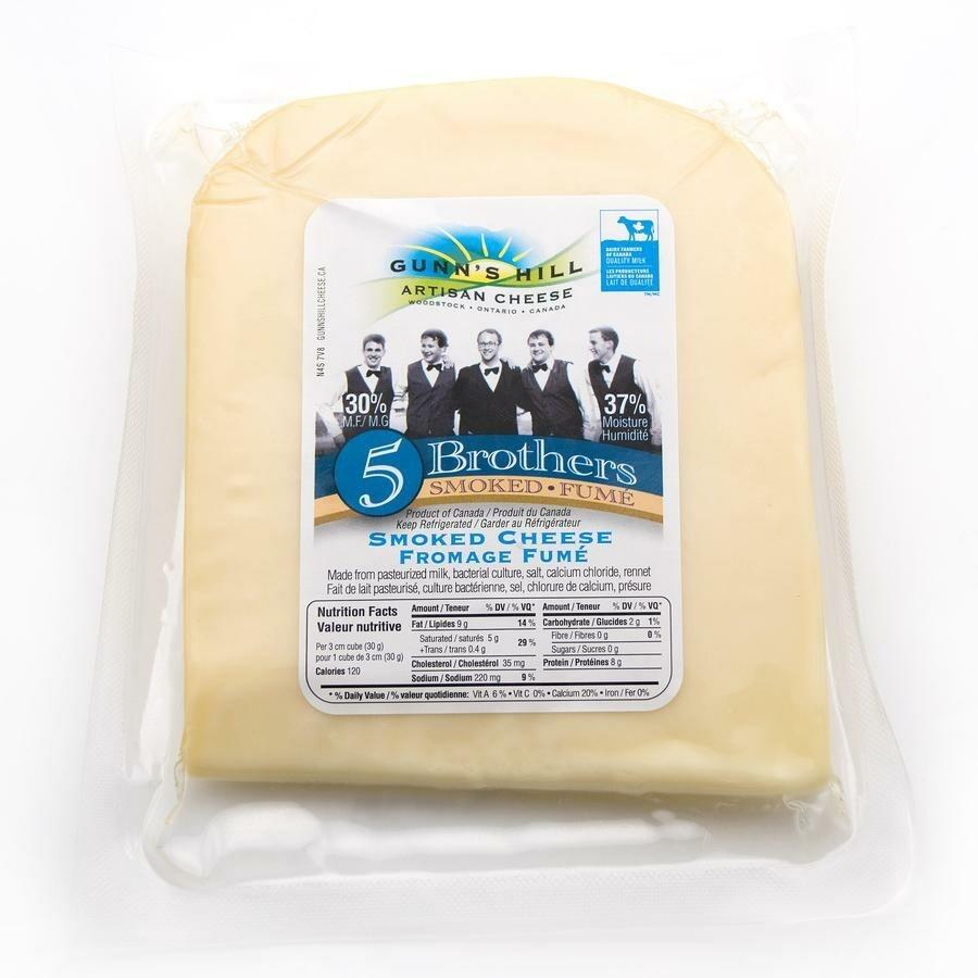 Gunn's Hill Artisan 5 Brothers Smoked Swiss/Gouda Cheese - LOCAL