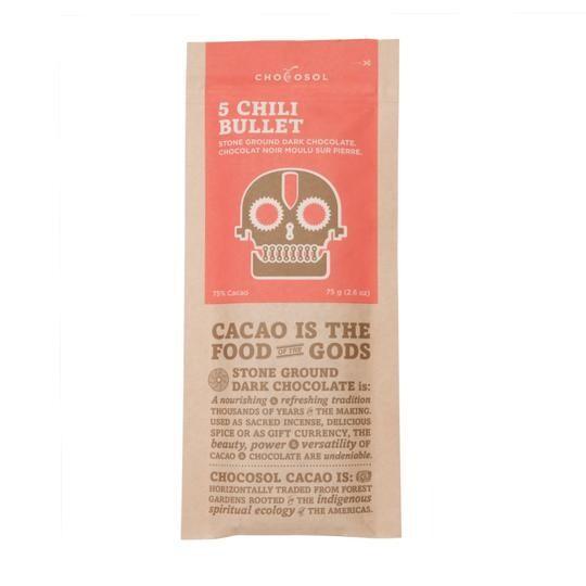 Five Chili Bullet Artisan Chocolate Bar - LOCAL