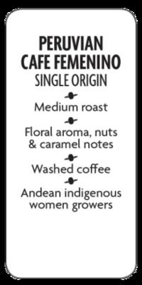 Peruvian Cafe Femenino Whole Bean Coffee  - Planet Bean Coffee LOCAL - 12oz