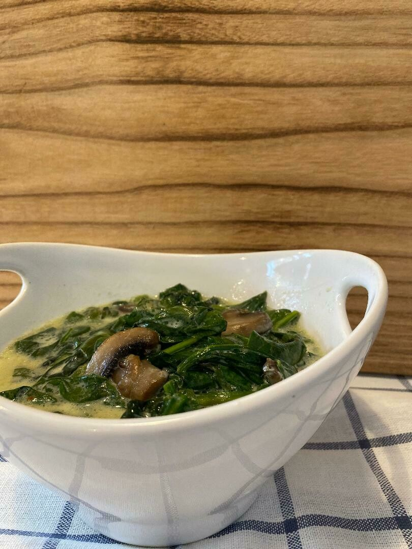 Creamed Spinach with Mushrooms (Fresh)*