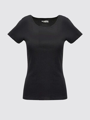 Classic women's rib T-shirt Boat neck Khady