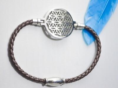 Leder-Armband mit Blume des Lebens