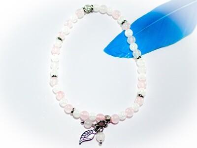 Armband mit Bergkristall und Rosenquarz