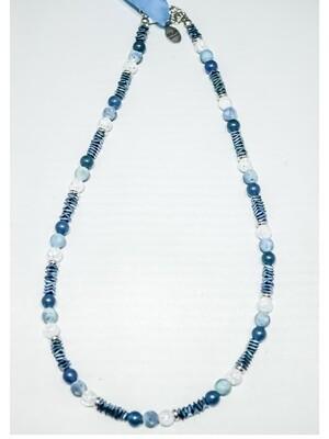 Halskette Bergkristall/Geodenachat/Hämatit/ Amazonit