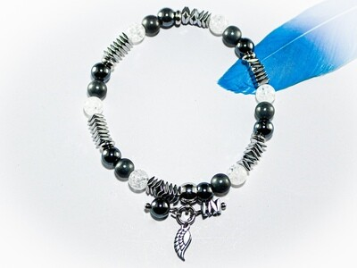 Armband mit Bergkristall und Hämatit 6mm